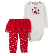 Carters Infant Girls Red & White Best Gift Ever Holiday Christmas Outfit