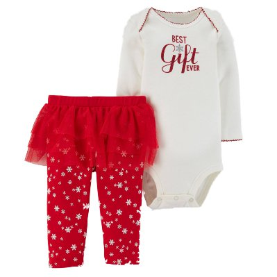 Carters Infant Girls Red & White Best Gift Ever Holiday Christmas