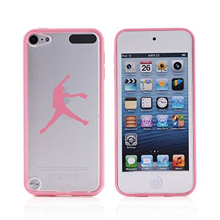 For Apple iPod Touch 6th Generation Transparent Clear Hard TPU Case Cover Female Softball Pitcher (Light