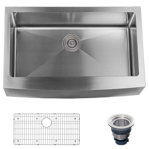 Miseno Stainless Steel 33'' L x 21'' W Farmhouse Kitchen Sink with Apron Front