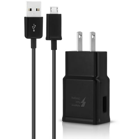 Adaptive Quick Home Charger+USB Power Charging Cable For Samsung Galaxy A6+ Black - image 2 of 9