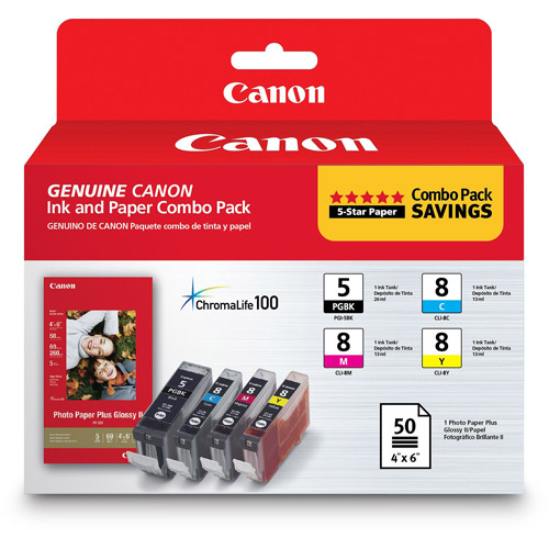 Canon PGI Black/Cyan/Magenta/Yellow Inkjet Cartridge Combo Pack (0628B027)