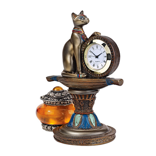 Design Toscano Bastet's Egyptian Altar Timepiece