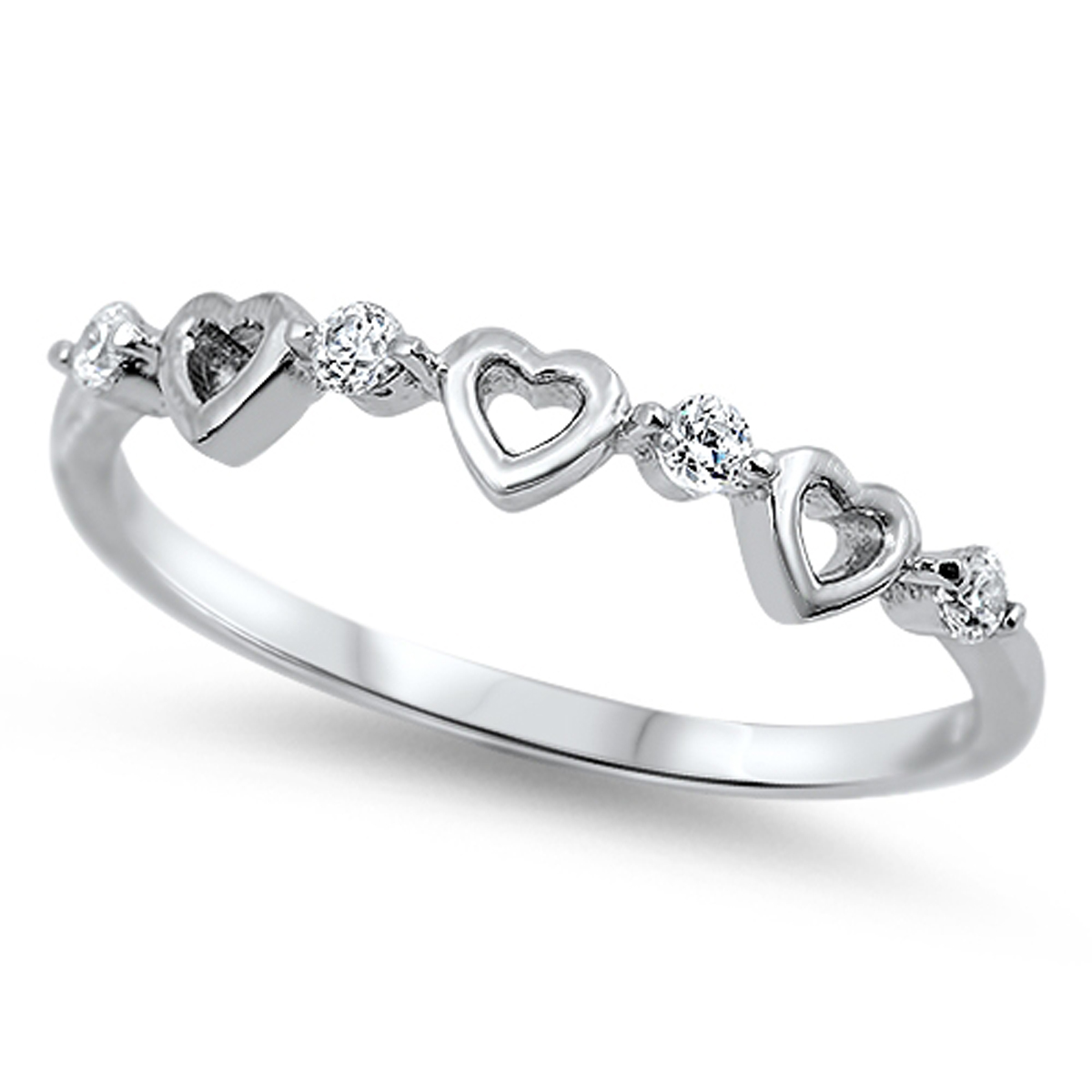 Sterling Silver Women's Flawless Colorless Cubic Zirconia Wedding Heart Ring (Sizes 4-10) (Ring Size 4)