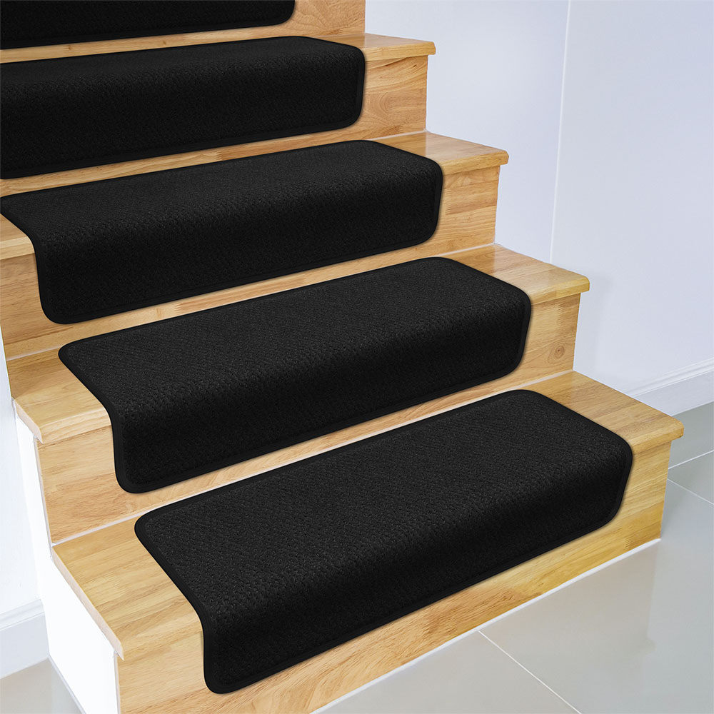 Set of 12 Overstep Attachable Carpet Stair Treads - Black - 17 In. X 30 In.