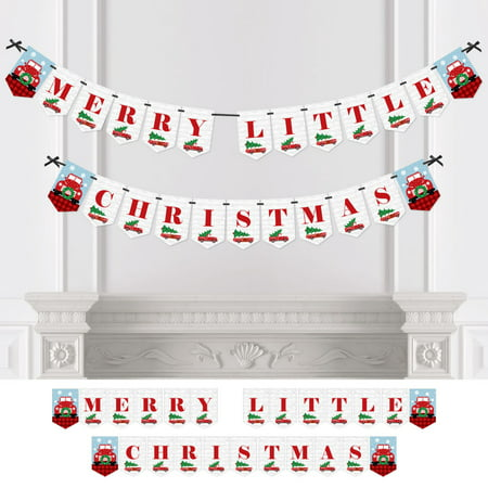 Merry Little Christmas Tree - Red Truck & Car Christmas Party Bunting Banner - Party Decoration - Merry Little Christmas](Fire Truck Party Decorations)