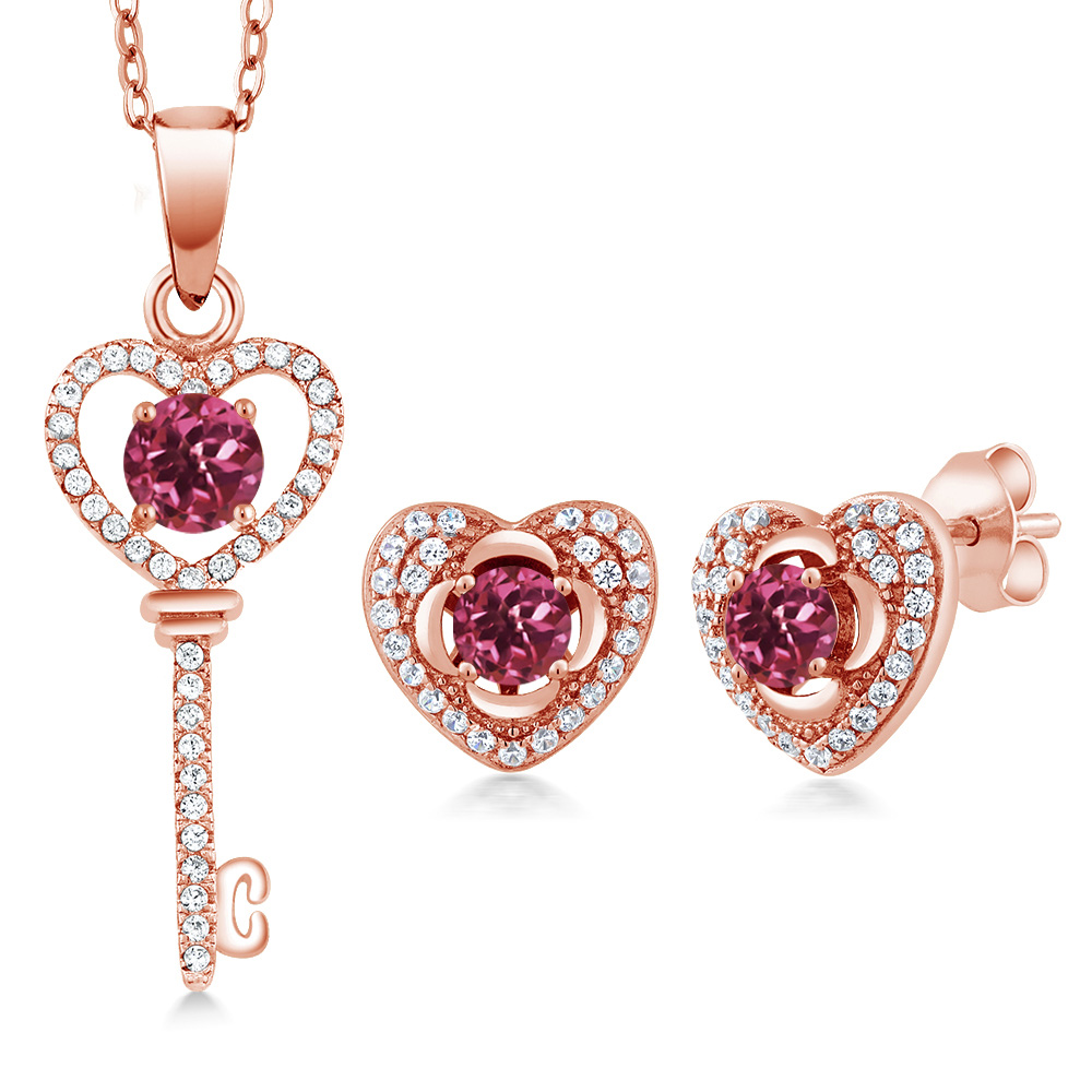 2.05 Ct Round Pink Tourmaline 18K Rose Gold Plated Silver Pendant Earrings Set by