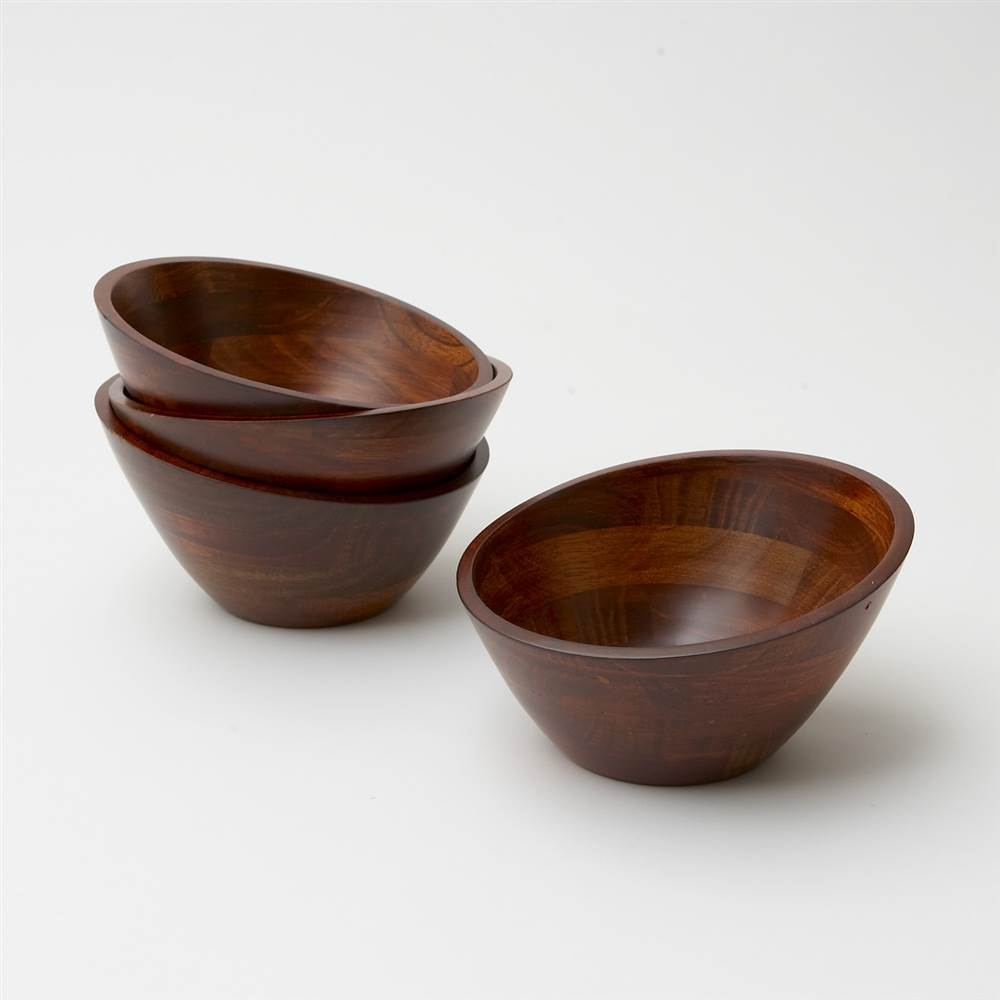 4 Pc Cherry Finish Individual Salad Bowl Set by Woodard and Charles