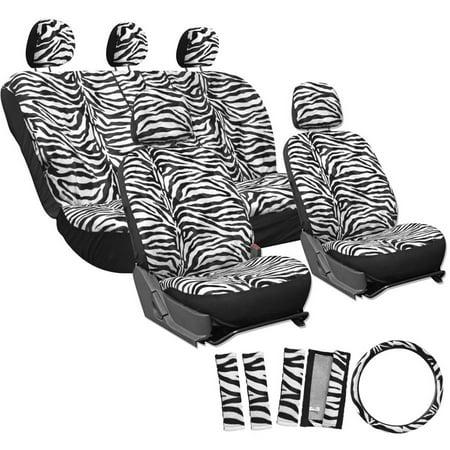 OxGord 17-Piece Set Zebra Animal Print/Auto Seat Covers Set, Airbag ...