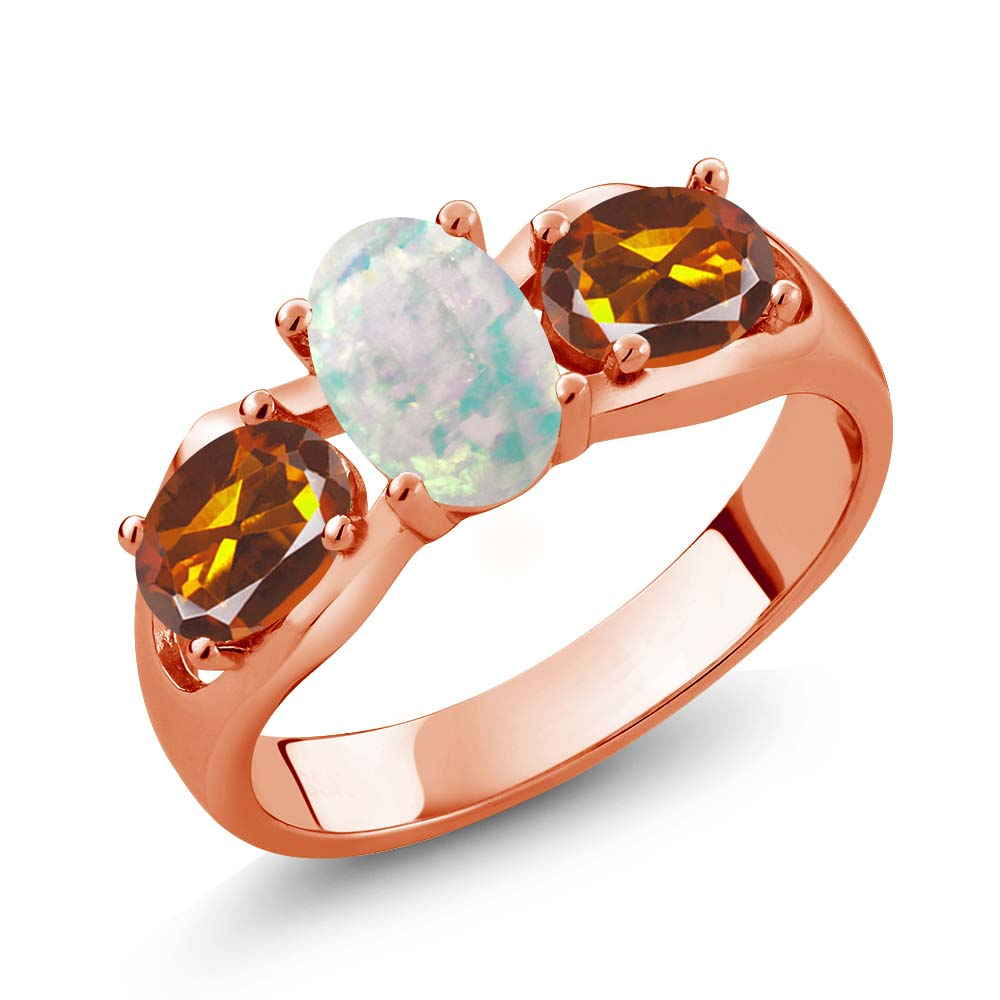 1.43 Ct Oval White Simulated Opal Orange Red Madeira Citrine 14K Rose Gold Ring
