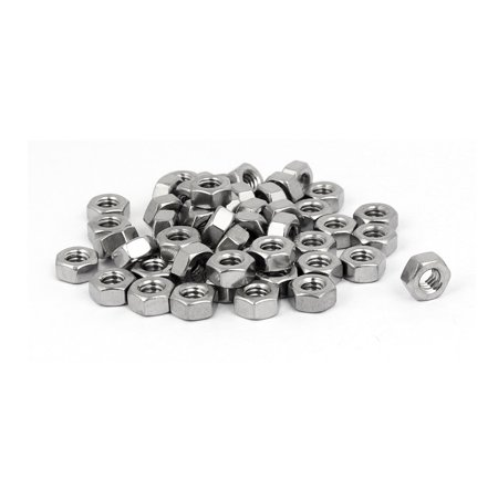 """Uxcell 1/4"""" Thread Dia. 304 Stainless Steel Finished Metric Hex Nut Silver Tone (50-pack)"""