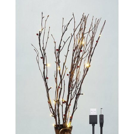 Lightshare Natural Branches, With Red Berries and Warm White Lights