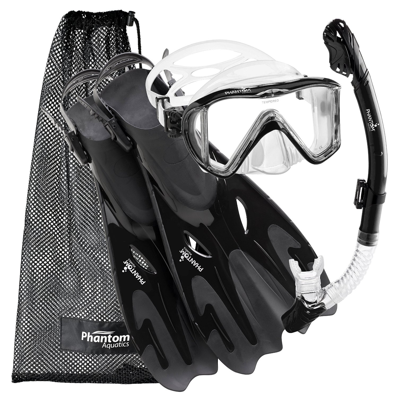 Click here to buy Phantom Aquatics Legendary Mask Fin Snorkel Set with Mesh Bag.