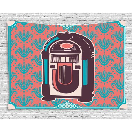 Jukebox Tapestry, Floral Paisley Inspired Backdrop with Music Box Retro Party Print, Wall Hanging for Bedroom Living Room Dorm Decor, 60W X 40L Inches, Blue Light Pink and Purple, by Ambesonne