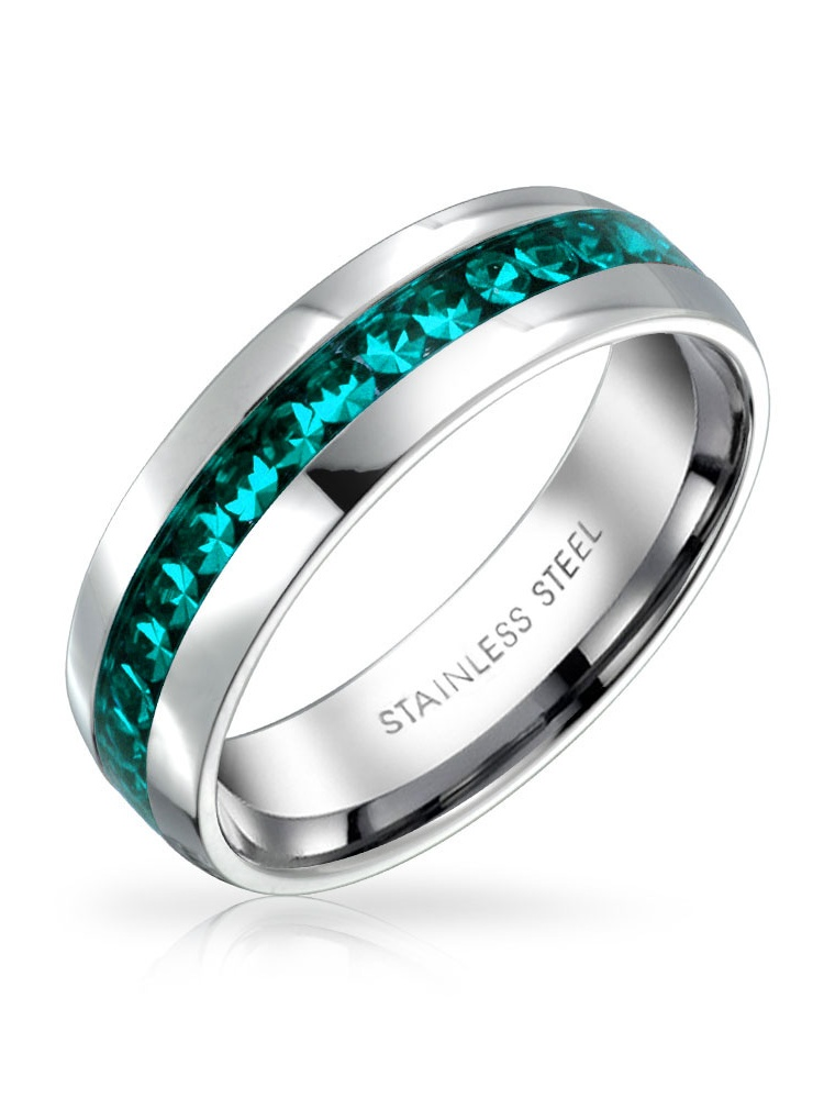 Channel Set Crystal Eternity Band Ring Birth Month For Women Mens Silver Toned Stainless Steel Polished Finish