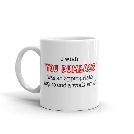 I Wish You Dumbass Was An Appropriate Way To End A Work Email Funny Novelty Humor 11oz White Ceramic Glass Coffee Tea Mug