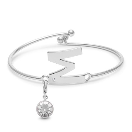 Initial Bangle Bracelet With Created Diamond and Pearl Crystal Birthstone, For June Babies