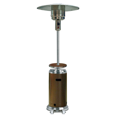 Hiland Tall Stainless Steel and Hammered Bronze Patio Heater with Table by AZ Patio Heaters