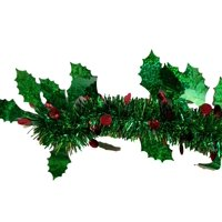 Amscan Christmas Holly Berry Garland metallic green with red berries 9 ft long