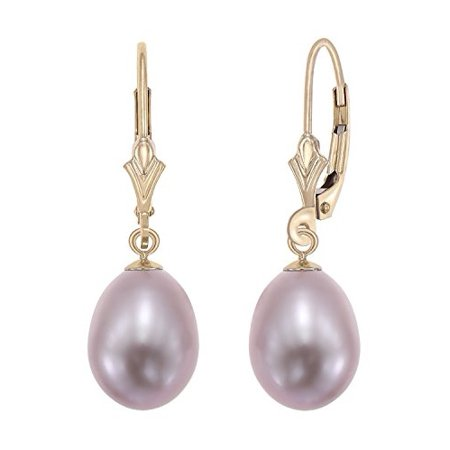 14k Yellow Gold Freshwater Cultured Pearl Leverback Drop Earring (Pink) 14k Double Cultured Pearl Earring