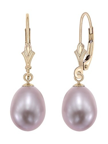 14k Yellow Gold Freshwater Cultured Pearl Leverback Drop Earring (Pink)