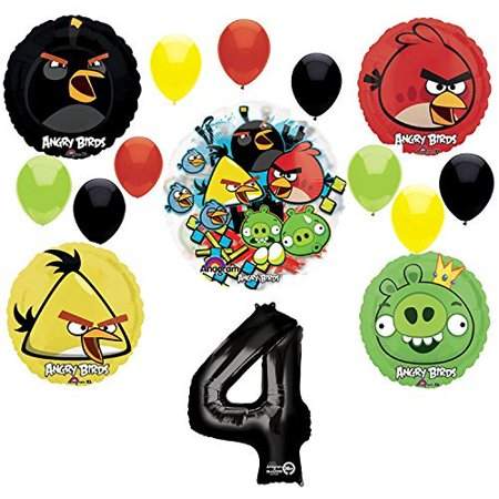 Angry Birds 4th Birthday Party Supplies and Group See-Thru Balloon Decorations](Angry Bird Balloon)