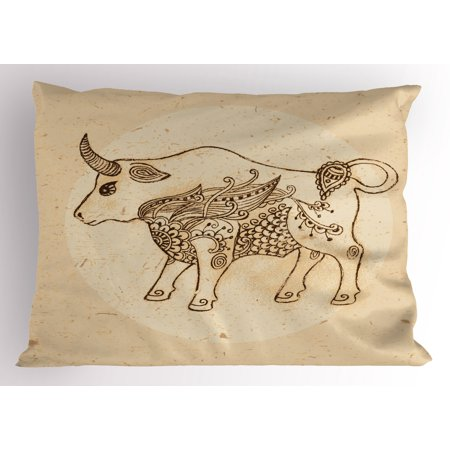 Zodiac Taurus Pillow Sham Hand Drawn Bull with Ethnic Ornaments Vintage Antique Tribal Design, Decorative Standard Size Printed Pillowcase, 26 X 20 Inches, Brown and Sand Brown, by Ambesonne