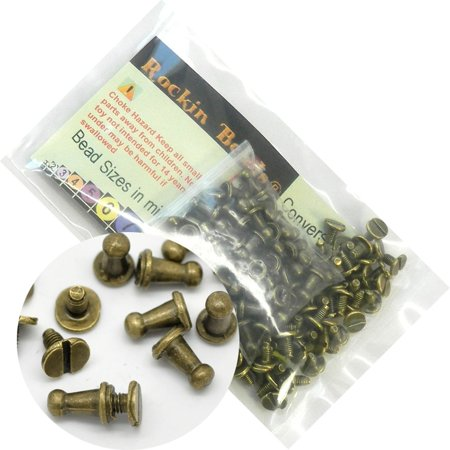 - 48 Sets Antiqued Brass Plated Cone Screw on Spike Rivet Studs 9x6mm Punk Gothic or Leather Work
