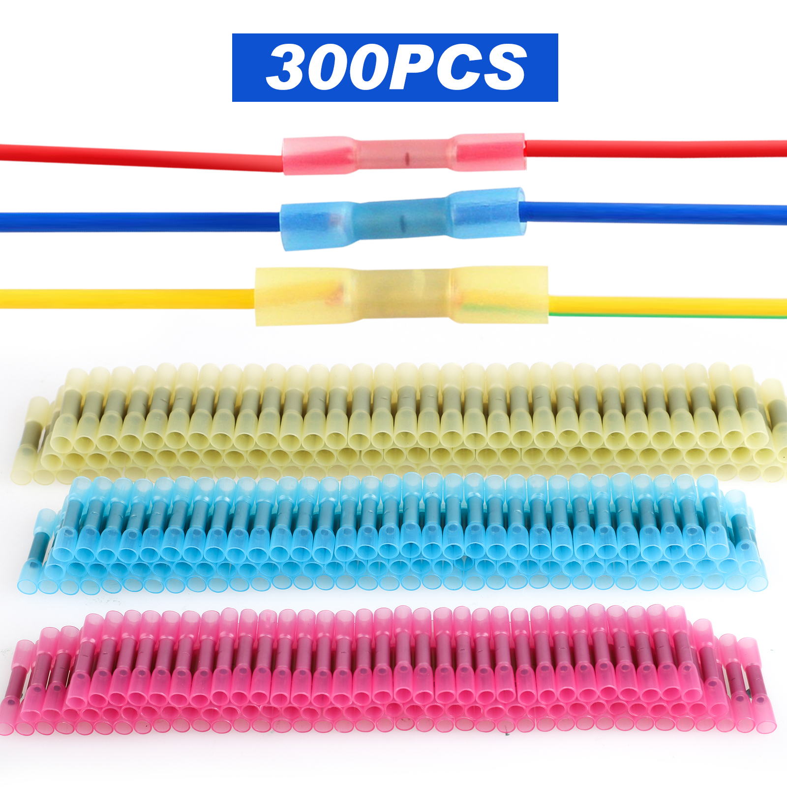 300-pack Heat Shrink Butt Connectors, Crimp Wire Connector Waterproof Insulated Splice Terminal for Marin Boat Automotive Terminal Kit