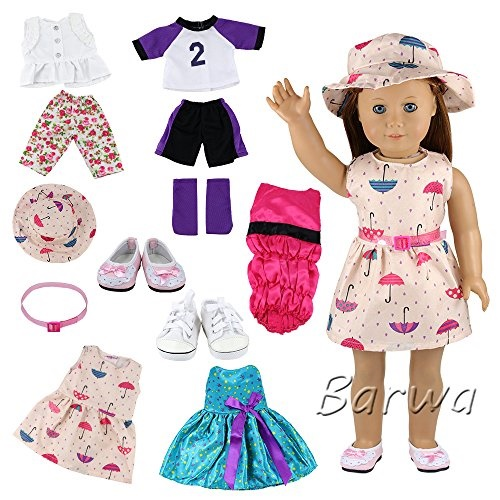 Barwa 6 Sets Clothes and Accessories Fashion Summer Clothing Dress for 18 Inch American Girl Doll