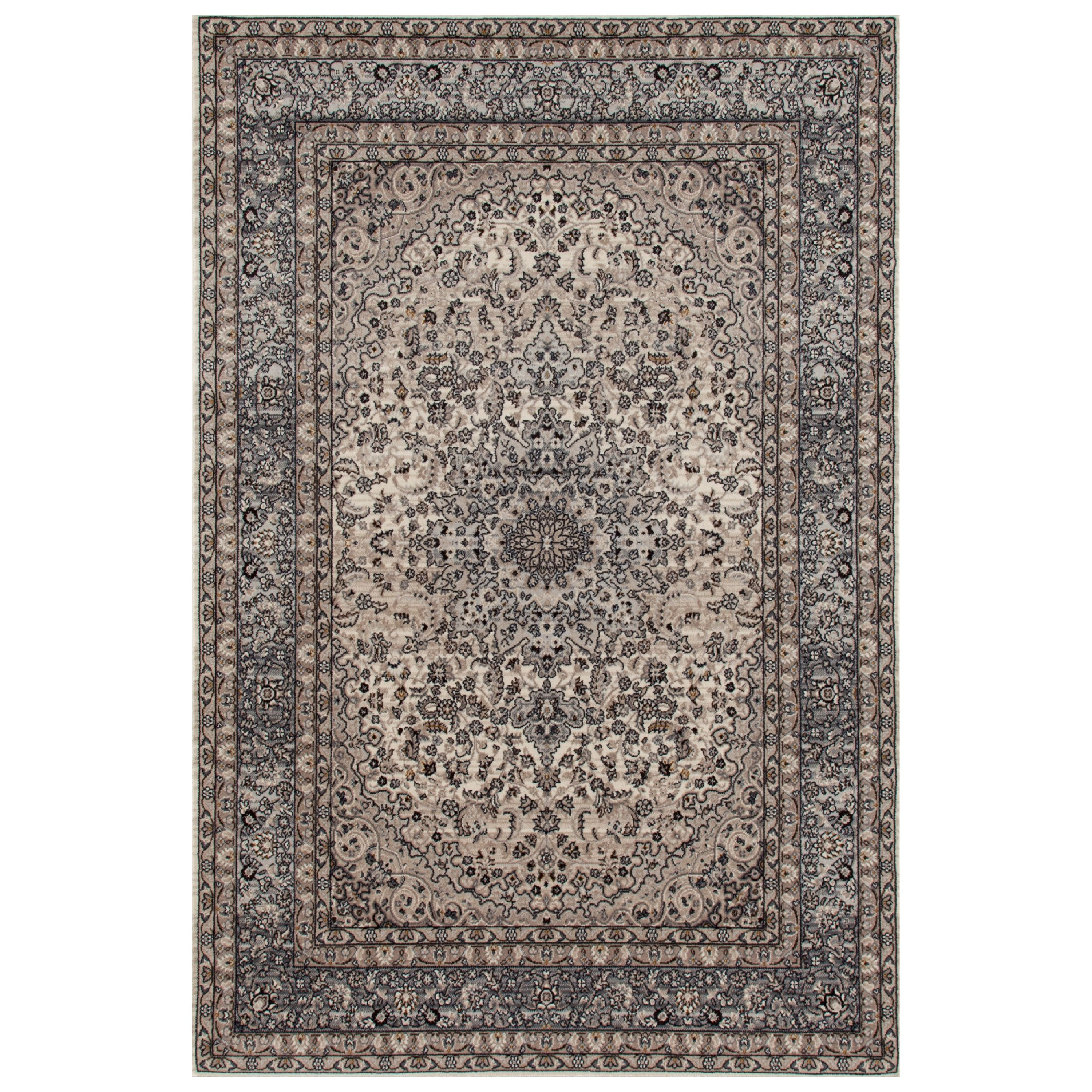 Traditional Oriental Gray High Quality Medallion Design Area Rug or Runner