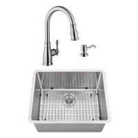 23 in. Radius Corner Stainless Steel Bar & Prep Sink & Traditional Faucet