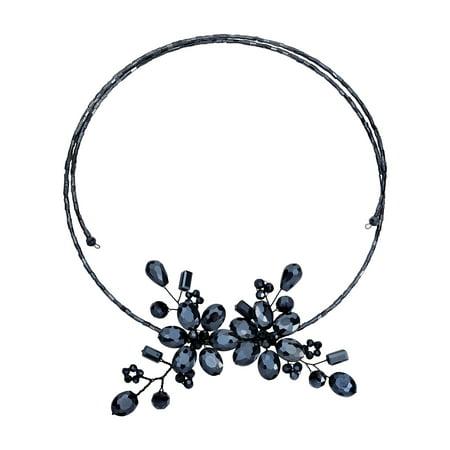 Sparkling Black Crystal Floral Bouquet Wraparound Choker Necklace ()