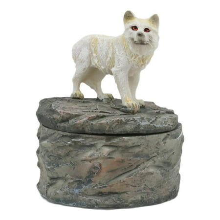 Ebros Gift Single Albino Snow White Wolf Rounded Jewelry Decorative Box Figurine As Decor of Timberwolves Wolves in Cries of The Night Moon Light Animal Totem Spirit Sculpture Accessory Storage (1)