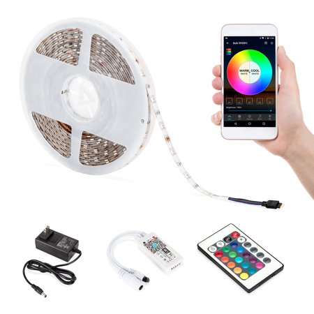 Best Choice Products 32.8ft 300 LED Light Strip Bluetooth Customizable Color Changing Flexible Rope Reel with Smart Phone Control, Wifi Remote, Sync To Music, Timer, Double-Faced (Best Rope Lights For Deck)