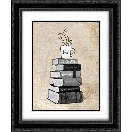 Halloween Books and Coffee 2x Matted 20x24 Black Ornate Framed Art Print by Cummings, Amy (Halloween Coffee Can Crafts)
