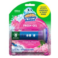 Scrubbing Bubbles Fresh Gel Toilet Cleaning Stamp, Floral Fusion, Dispenser + 6 Gel Stamps, 1.34 oz.