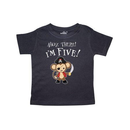 Ahoy, there! I'm Five!- Pirate Monkey 5th Birthday Toddler T-Shirt