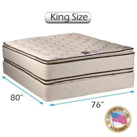 Coil Comfort Pillow Top Mattress And Box Spring Set  King  Double Sided Sleep System With Enhanced Cushion Support  Fully Assembled  Great For Your Back  Longlasting Comfort  By Dream Solutions Usa