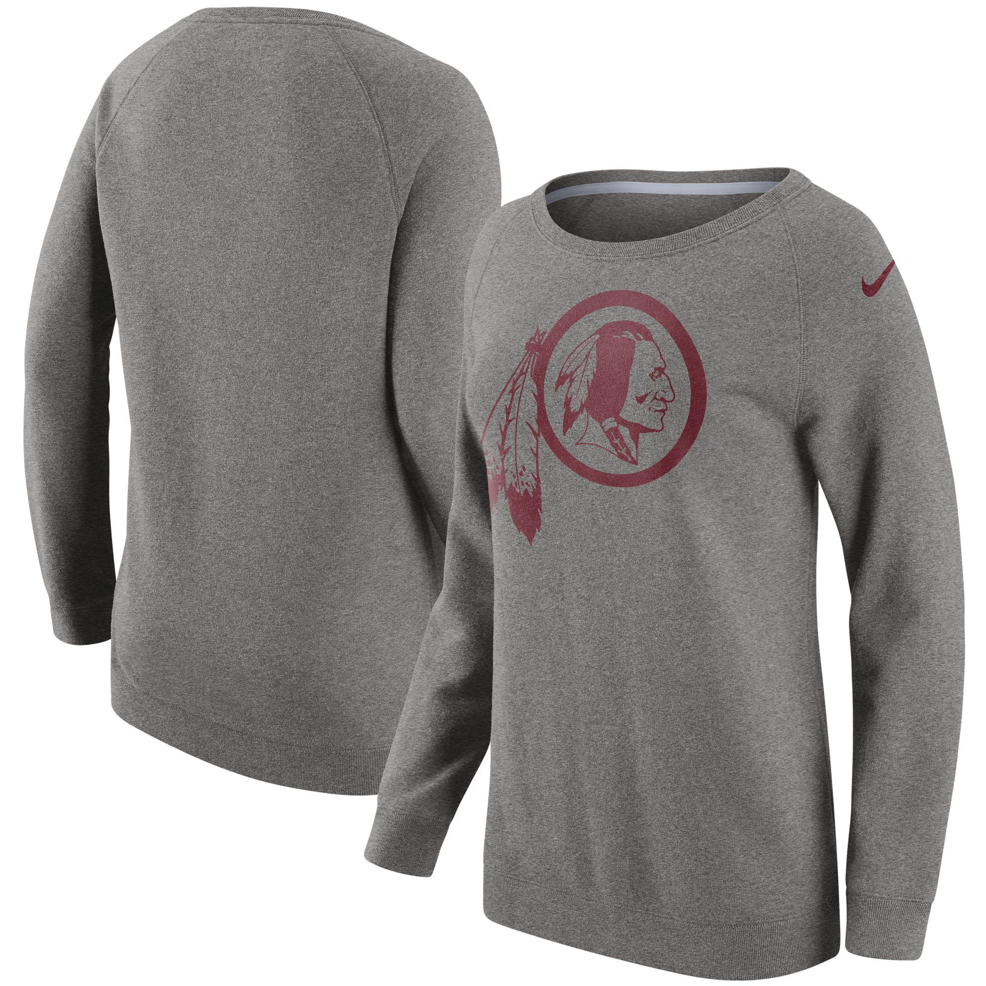 Washington Redskins Nike Women's Champ Drive Boyfriend Pullover Sweatshirt - Heathered Gray