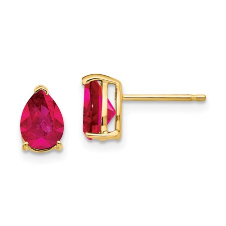 14K Yellow Gold Ruby Earrings - image 1 de 1