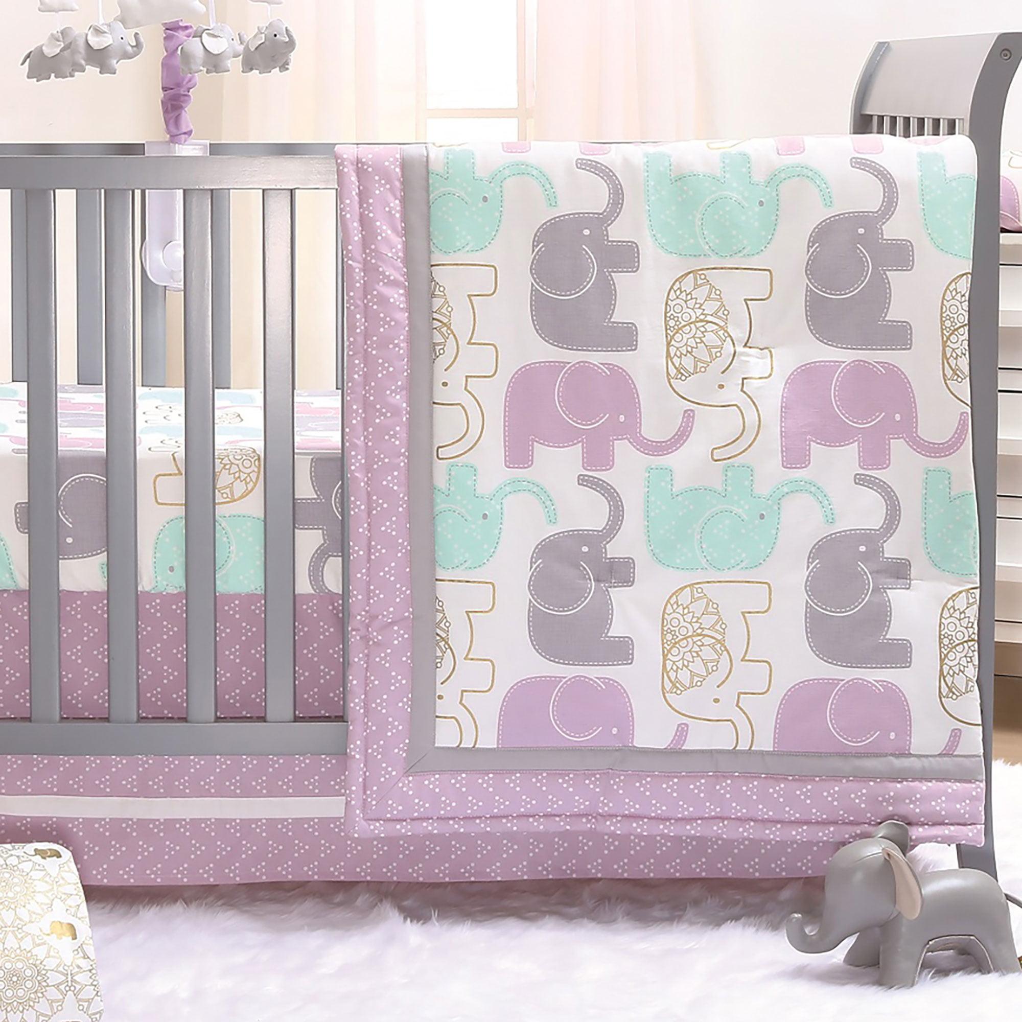 The Peanut Shell 3 Piece Baby Girl Crib Bedding Set - Little Peanut Lilac and Gold Elephants - 100% Cotton Fabrics