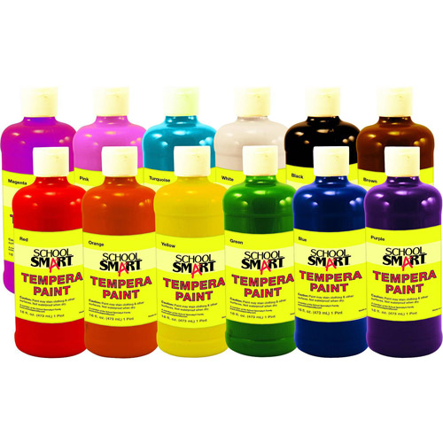 School Smart Tempera Paint, 1-Quart, Set of 12