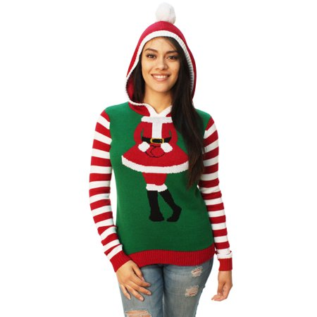 Ugly Christmas Sweater Women's Cute Santa Girl Hooded Sweater - Santa Has Been Naughty Sweater