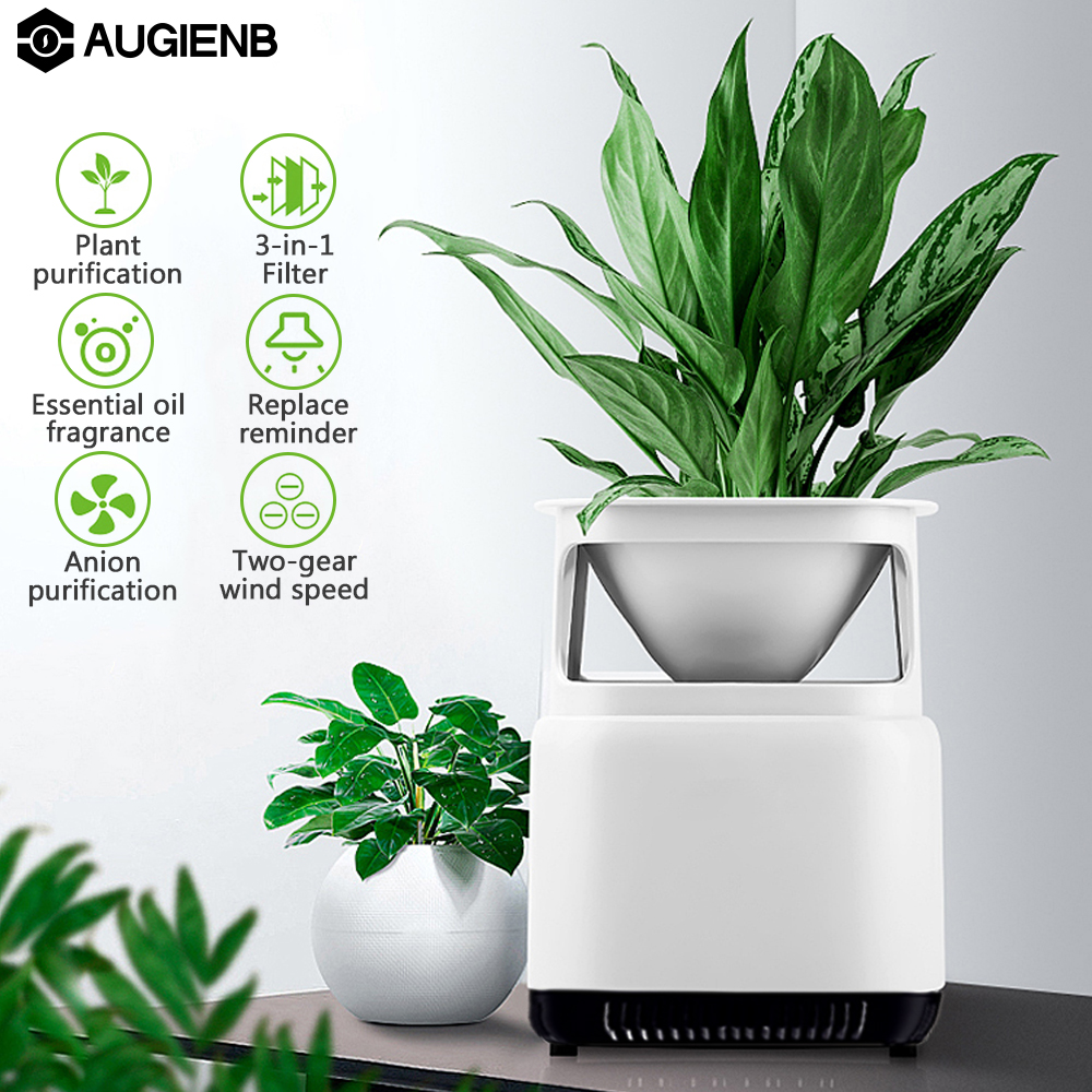 AUGIENB Desktop Odor Dust PM2.5 Cleaner Ionic Air Purifier with DIY Plant Potted