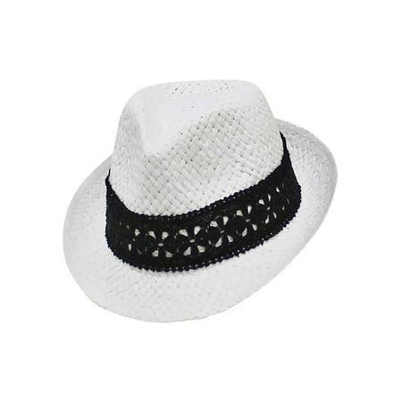 Panama Straw Fedora Hat With Black Lace Band - Walmart.com 2618383dacb