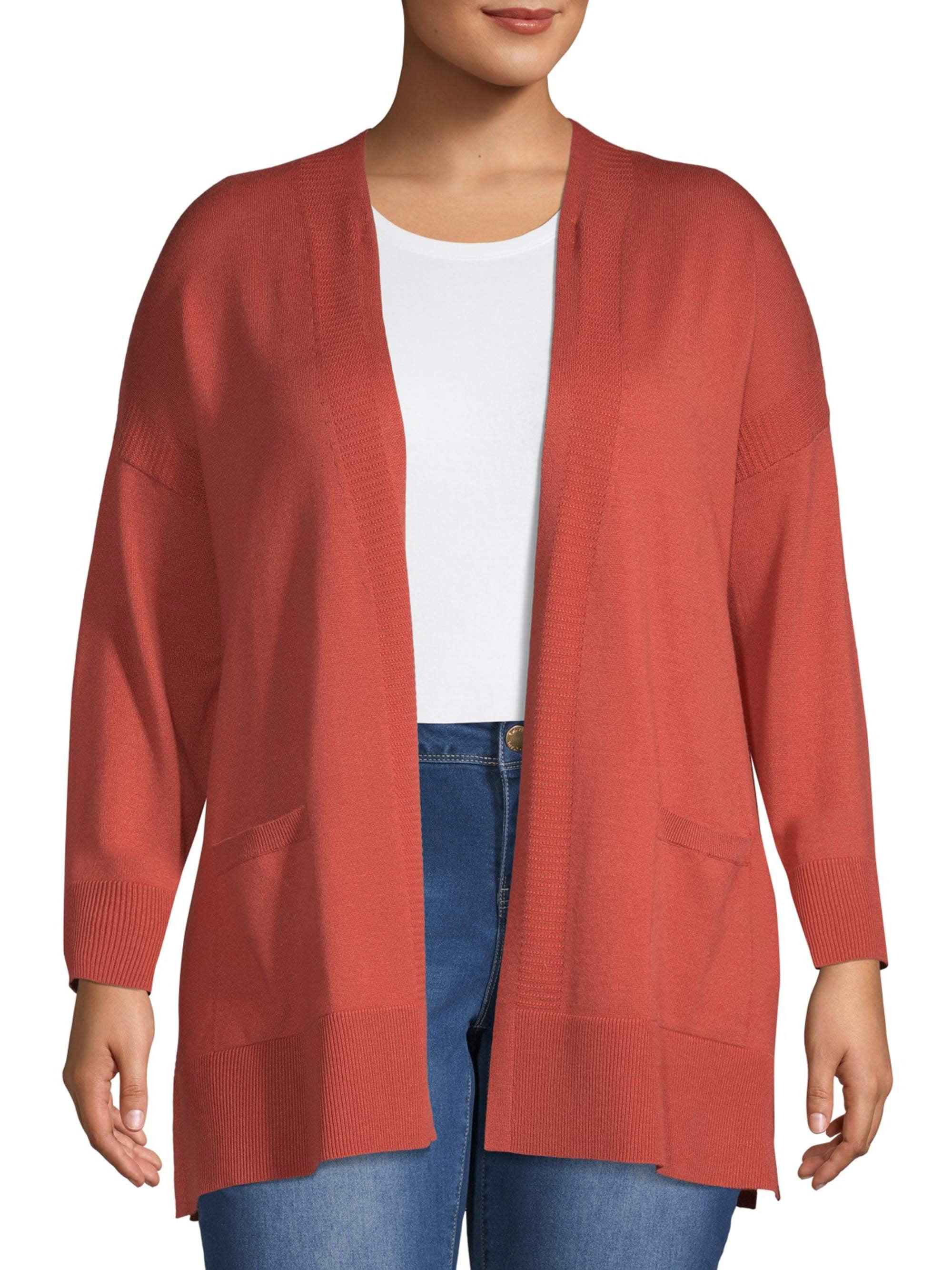 Terra /& Sky Womens Plus Size Winter Knit Hooded Cardigan