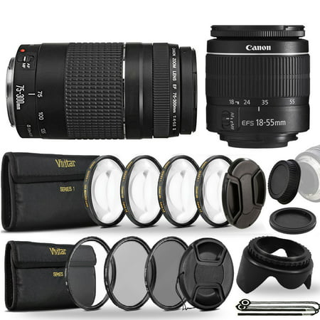 Canon EF-S 18-55mm III f3.5-5.6 Camera Lens and EF 75-300mm Lens Bundle for Canon Eos Rebel T5 T6 T5i T6i T7i T6s 1200D 1300D 600D 700D 60D 70D