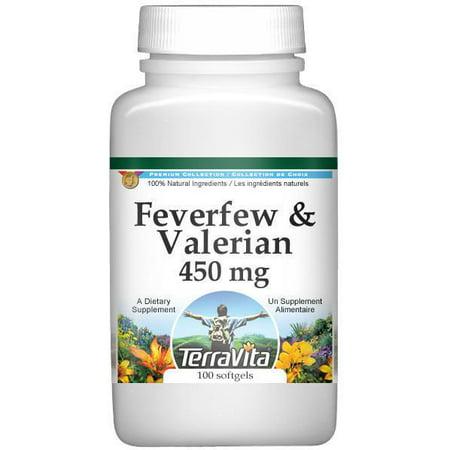 Combinaison Feverfew et Valerian - 450 mg (100 capsules, ZIN: 516992)