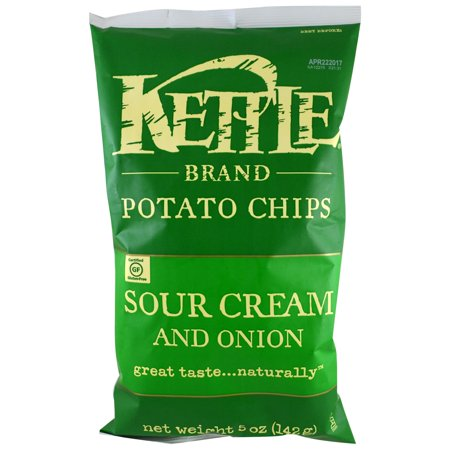 Sour Cream And Onion Potato Chips (Kettle Foods, Potato Chips, Sour Cream and Onion, 5 oz (pack of 4))